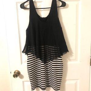 Love J Super Pretty Black and White Striped Dress